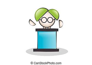 Da discursos en el podio