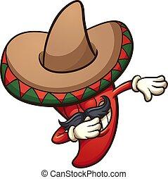 Dabbing chile mexicano