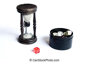 dados, negro, reloj de arena, plano de fondo, de madera, correa, contenedor, blanco