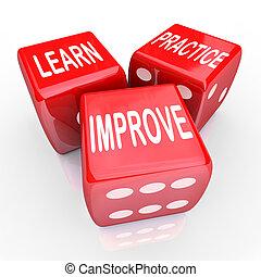 dados, práctica, 3, palabras, aprender, rojo, mejorar