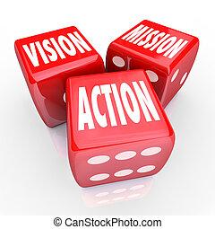 dados, tres, estrategia, rojo, acción, misión, visión, meta
