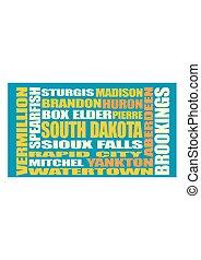 dakota, estado, ciudades, lista, sur