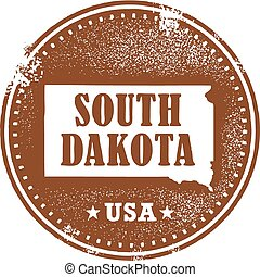 dakota, estampilla, estado, sur, estados unidos de américa
