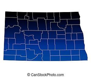 dakota, mapa, norte