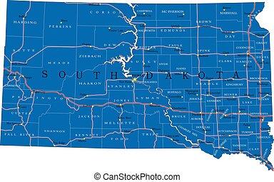 dakota, mapa, sur, estado, político