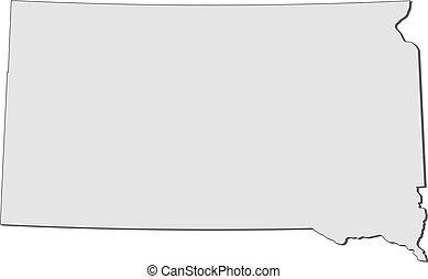 dakota, mapa, (united, states), sur