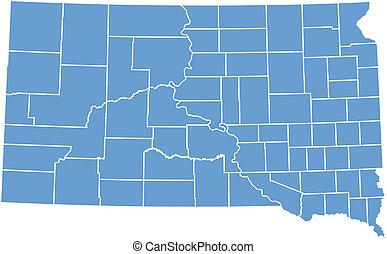 dakota, mapa, vector, sur