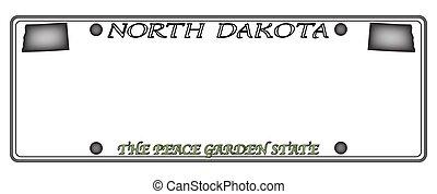 dakota, placa, norte, licencia