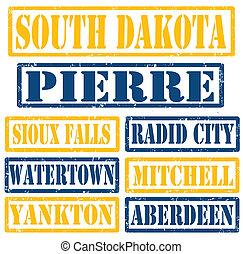 dakota, sellos, ciudades, sur