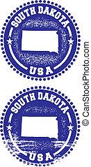 dakota, sellos, sur, estados unidos de américa