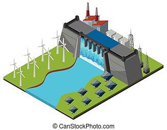 Dam con turbinas y células solares