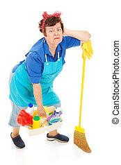 dama, -, agotado, limpieza