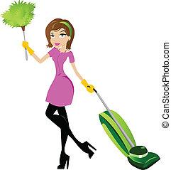 dama, carácter, limpieza