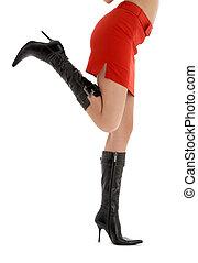 dama, piernas, falda, espalda, rojo