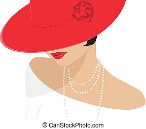dama, sombrero, rojo