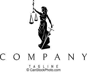 dama, vector, justicia, logotipo, diseño, negro, estatua