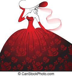 dama, vestido de noche, rojo