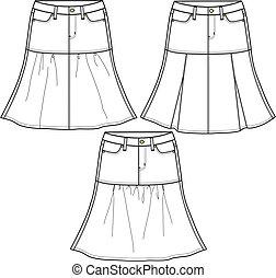 damas, estilo, tela vaquera, faldas, tres
