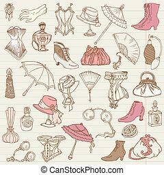 damas, moda, garabato, -, accesorios, colección, mano, vector, dibujado