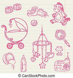 Danzas de bebé, colección dibujada en vector