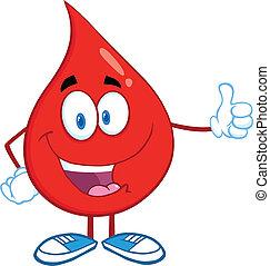 dar sangre, gota, pulgar up