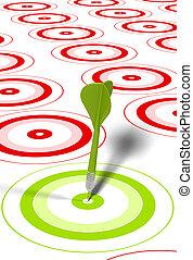 Dardo verde golpeando el centro de un blanco rojo, hay algunos objetivos rojos alrededor