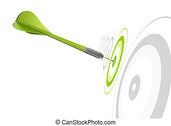 Dardo verde golpeando el centro de un objetivo, hay othr Greys objetivos en fila, antecedentes blancos