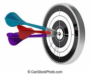 Dardos de árboles golpeando el centro de un objetivo los dardos están hechos de diferentes colores, la imagen está aislada sobre un fondo blanco