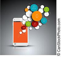 Dark Vector abstracto círculos plantilla infográfico con teléfono