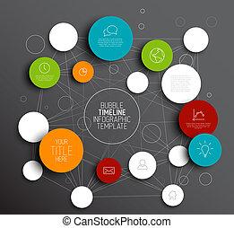 Dark Vector abstracto círculos plantilla infográfico