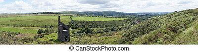 dartmoor, panorámico, landscap, vista
