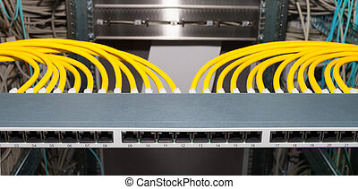 datacenter, red, él, remiendo, servicios, panel
