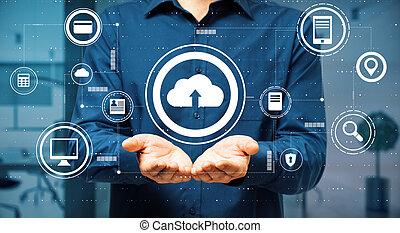 datos, hombre, servicio, virtual, botones, encima, intercambio, palmas, concepto, nube
