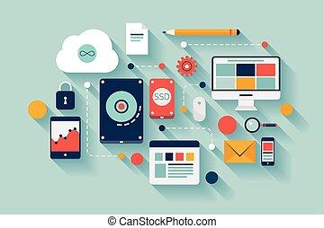 datos, ilustración, concepto, almacenamiento