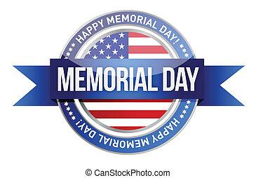 day., monumento conmemorativo, bandera, nosotros, sello