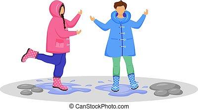 day., niño, color, weather., niña, niños, blanco, lluvioso, niños jugar, caucásico, mojado, puddles., caricatura, plano de fondo, aislado, faceless, vector, character., gumboots, plano, impermeables, ilustración