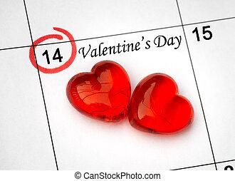 day., página, calendario, corazones, 14, santo, rojo, valentines, febrero