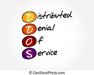 ddos, -, distributed, concepto, tecnología, negación, plano de fondo, siglas, servicio