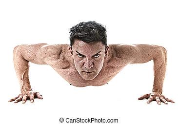 De 40 a 45 años, un hombre apto haciendo ejercicio rutina de entrenamiento de ejercicio con un cuerpo musculoso fuerte