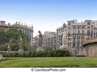 de, catalunya, placa, barcelona., fuente, spain.
