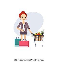 De compras. Actividades diarias de las mujeres. Ilustración de vectores