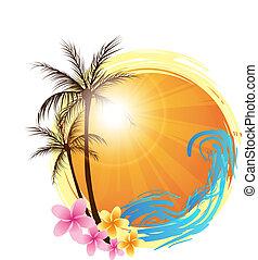 De fondo con palmeras