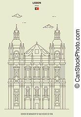de, iglesia, o, monasterio, vicente, fora, lisboa, señal, sao, portugal., icono