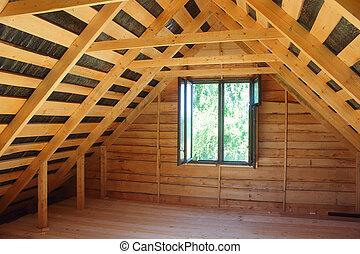 de madera, ático, construcción, houses.