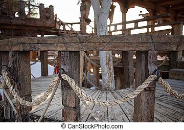 de madera, arriba., cierre, soga, intertwined, pasamanos