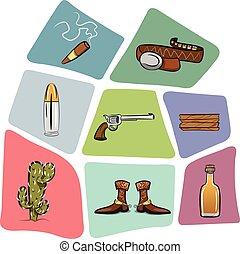 de madera, bala, boots., tabla, vaquero, cacto, cinturón, arma de fuego, cigarro, tequila