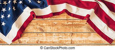 de madera, bandera, imagen, lay., plano, independencia, nosotros, above., 4 julio, fondo., día, espacio, estados unidos de américa, copia, vista