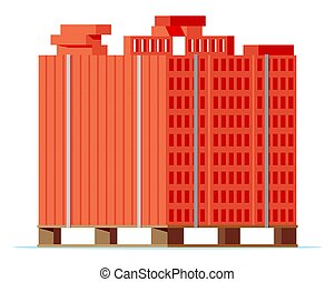 de madera, bricks., paleta, rojo