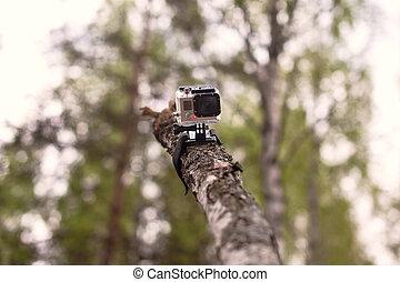 de madera, cámara, vídeo, registro, atado