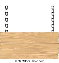 de madera, cadenas, ilustración, señal